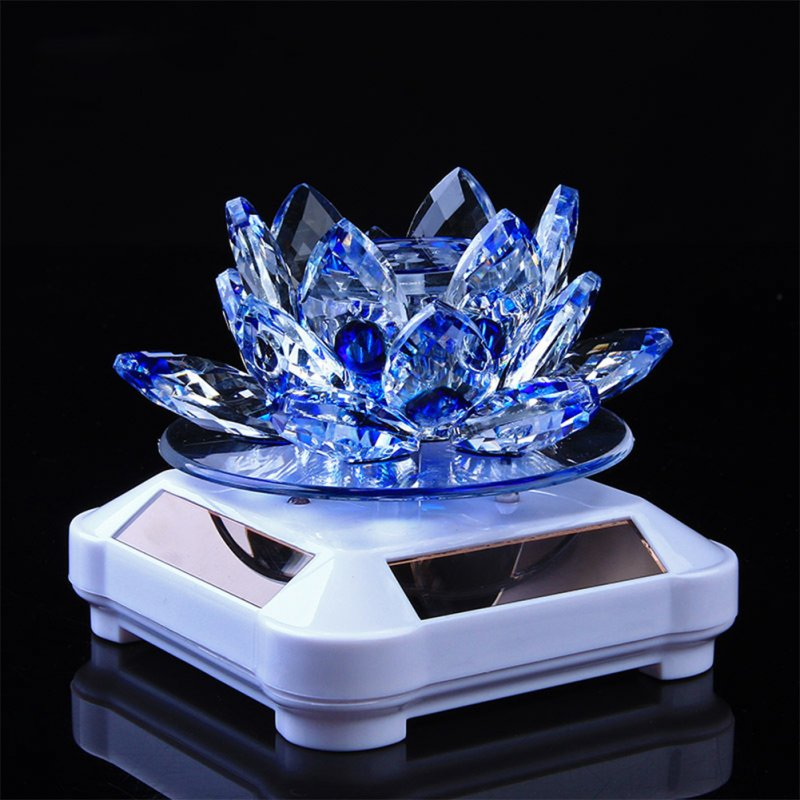 Glass Lotus Ornament with Solar Spin System Light Illuminated Base White background - blue lotus