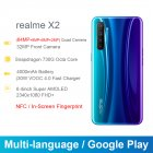 Global Version realme X2 8+128GB 6.4inches AMOLED Screen Moblie Phone Snapdragon 730G 64MP Quad Camera NFC CellphoneVOOC 30W Fast Charger blue