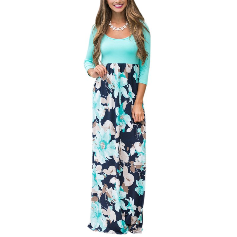 GloryStar Women 3/4 Sleeve Scoop Neck Spliced Floral Boho Maxi Holiday Dress M