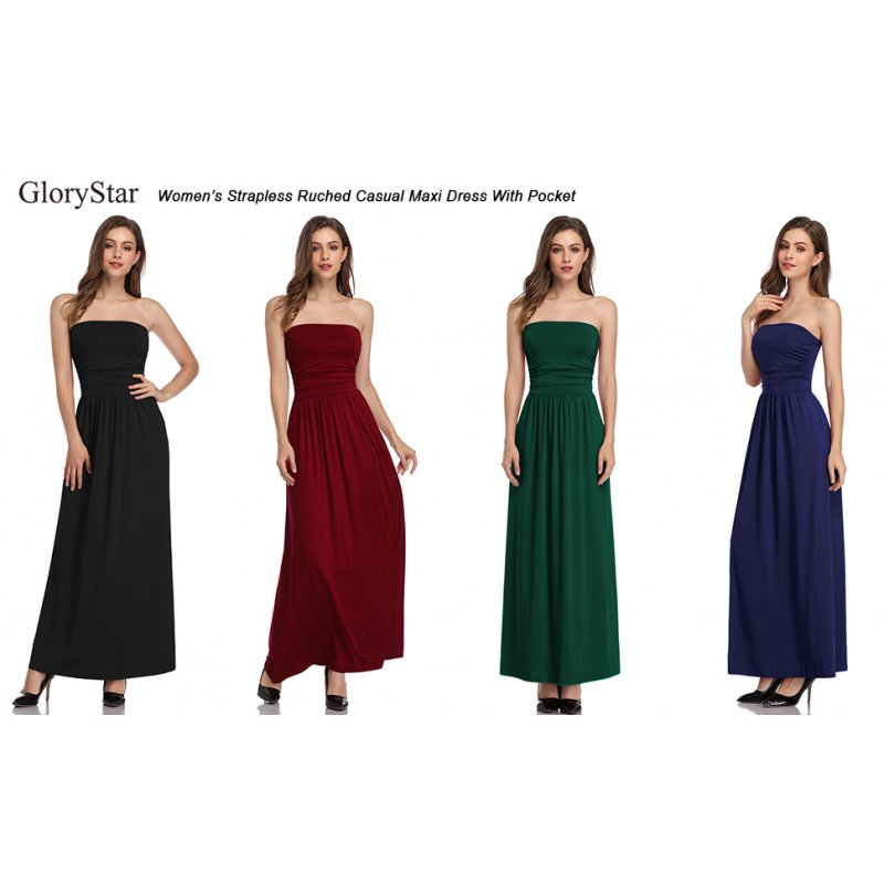 Glorystar Womens Strapless Ruched Casual Maxi Dress With Pocket