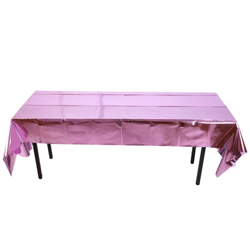 Glossy Disposable Rose Gold Tablecloth Christmas 1x2.7M Party Decoration Aluminum Foil Tablecloth For Picnics Pink