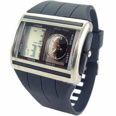 Solar Powered Digital + Analog Watch