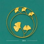 Gold Metal Ginkgo Leaf Shape Wall Decor Round Wall Ornaments for Bedroom Hanging Parts Hotel Wall Decoration Double round ginkgo leaf