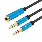 Gold Plated 3.5mm Stereo Female to 2 Male Y-splitter Aux Cable with Separate Headphone/Microphone Plugs blue