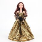 Gorgeous Gold Party Wedding Gown Princess Evening Dress with Lace Decoration for Dolls Crocodile pattern