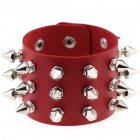 Gothic Delicate Cuspidal Spikes Rivet Leather Bracelets Punk Bracelet for Women Men  red