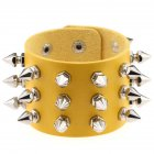 Gothic Delicate Cuspidal Spikes Rivet Leather Bracelets Punk Bracelet for Women Men  yellow