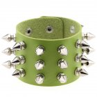 Gothic Delicate Cuspidal Spikes Rivet Leather Bracelets Punk Bracelet for Women Men  green