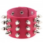 Gothic Delicate Cuspidal Spikes Rivet Leather Bracelets Punk Bracelet for Women Men  rose Red