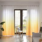 Gradient Wood Grain Printing Curtain Shading Drapes With Hanging Holes 1*2.7m High yellow