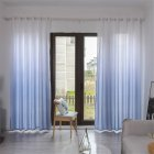 Gradient Wood Grain Printing Curtain Shading Drapes With Hanging Holes 1*2.7m High gray