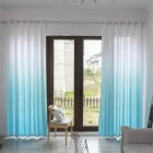 Gradient Wood Grain Printing Curtain Shading Drapes With Hanging Holes 1*2.7m High blue
