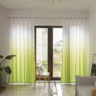 Gradient Wood Grain Printing Curtain Shading Drapes With Hanging Holes 1*2.7m High green