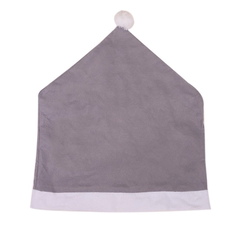 Gray Non-Woven Big Hat Chair Cover for Home New Year Party Christmas Decoration