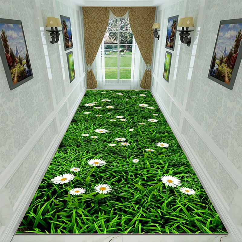 Green Rectangle Plant Printing Non Slip Mat for Bedroom Living Room Table Kitchen Corridor 15_80cm