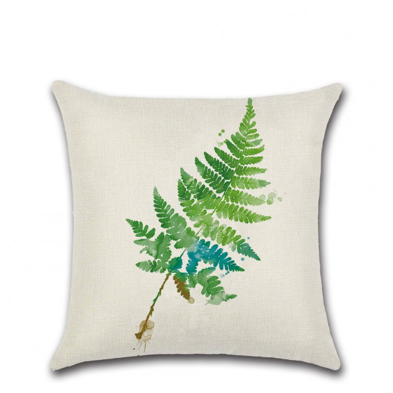 Green Tropical Plant Leaf Printing Throw Pillow Cover without Filling Green leaves - 305_45*45cm