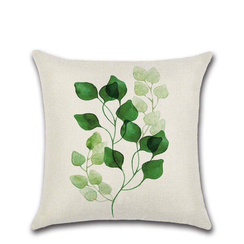 Green Tropical Plant Leaf Printing Throw Pillow Cover without Filling