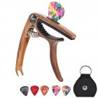 Guitar Capo for Acoustic and Electric Guitars Bass Ukulele Mandolin Banjo with Picks and Picks Holder  Wood grain