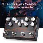 Guitar Effector 4 in 1 Distortion Overload Delay Effect Synthesizer black