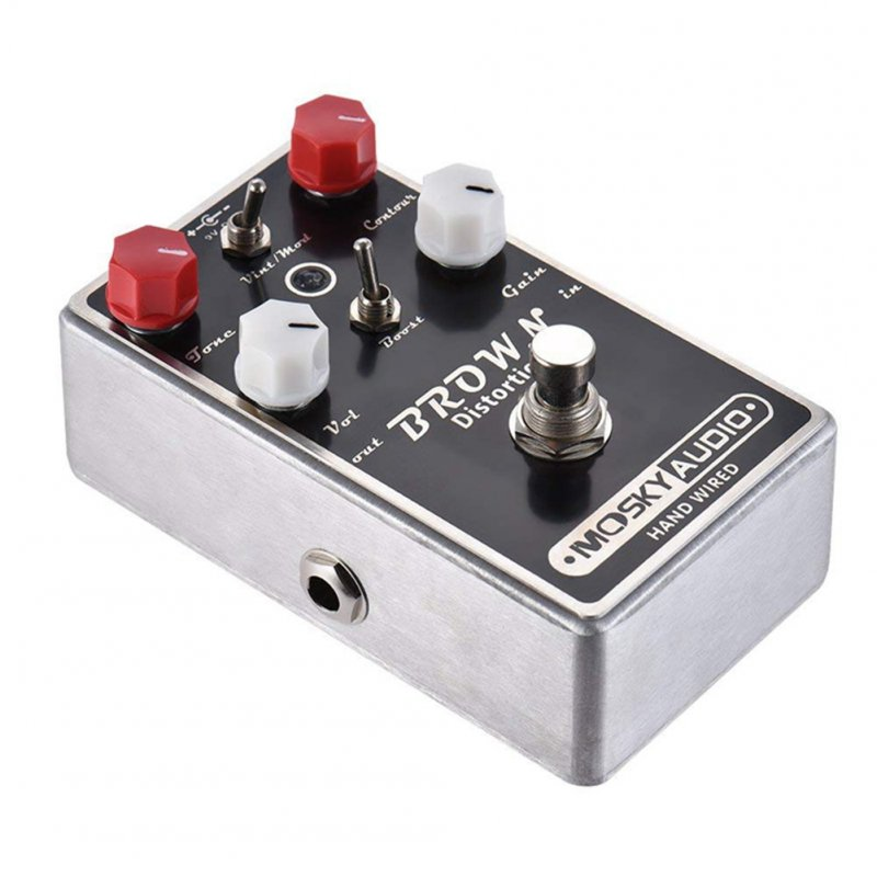 Guitar Effector Manual Metal Distortion Effect Pedal with LED Black+silver