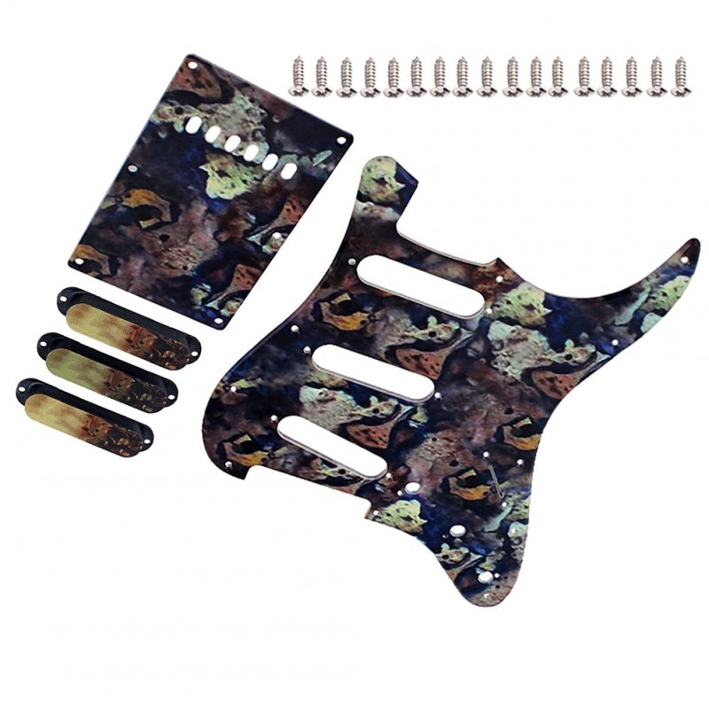 Guitar Pickguard + Back Plate + Pickup Cover+ Screws Set for Electric Guitar Parts Photo Color