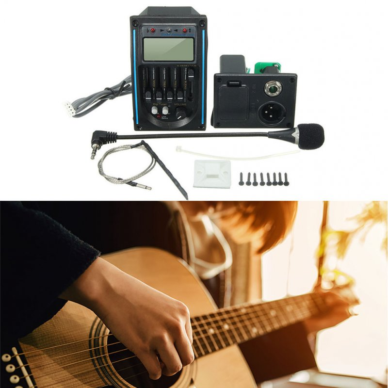 Guitarra Pickup 5-Band Acoustic Guitar Preamp EQ Equalizer Piezo Pickup Amplifier LCD Tuner + HI-FI MIC Microphone Blue + black