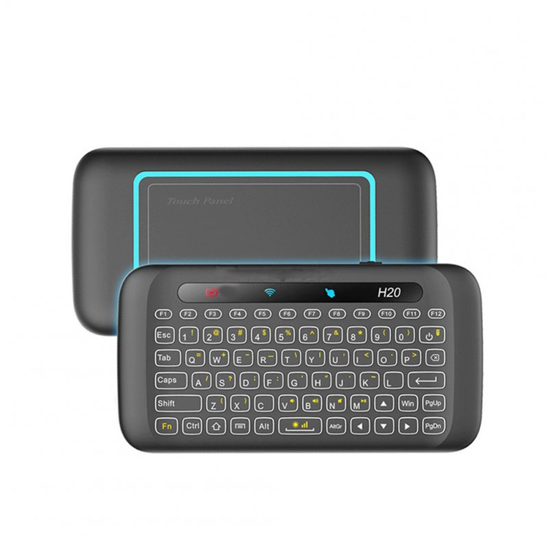 H20 Wireless LED Backlit Mini Keyboard with Full Screen Mouse Touchpad for PC, Pad, Google Android TV Box  black