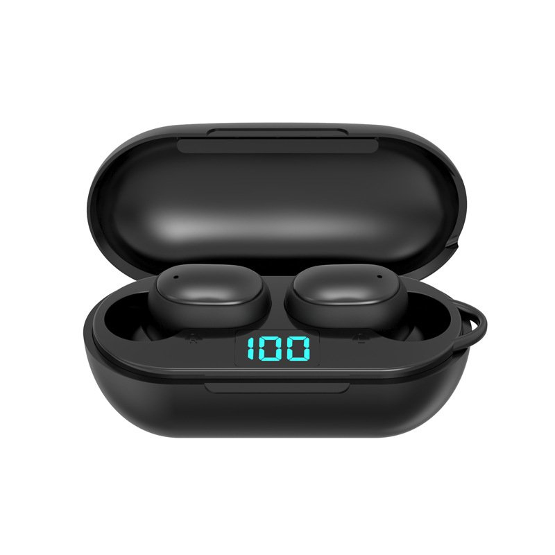 H6 TWS Wireless Earphone Earbuds LED Display Bluetooth V5.0 Headsets with Mic for Xiaomi iPhone Huawei Samsung A6S black