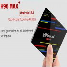 H96 Max Android Smart TV Box   Dual WiFi BT 4 1  Full HD  4GB RAM  64GB ROM  Quad Core  UK Plug