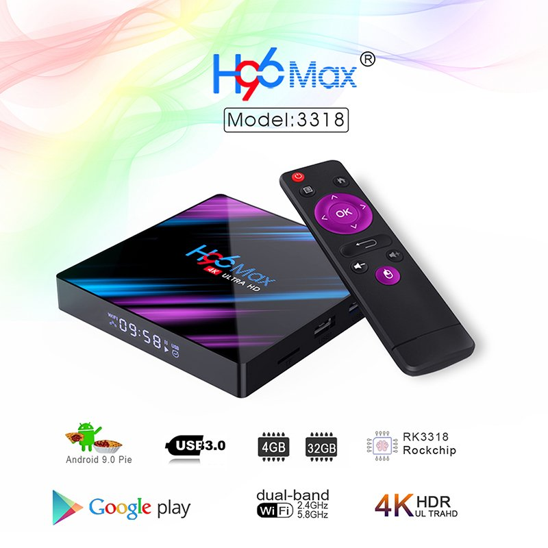 H96 max 3318 Quad-Core 2+16G/4+32G Android 9.0 HD Smart Network Media Player TV Box EU plug