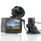 HD Blackbox car DVR set with a front and rear camera  a 3 5 Inch screen  PIP or single view of camera feed  and 32GB of memory