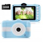 HD Digital Camera for Kids Creative Dual Cameras Mini Camera Blue   32G