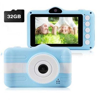 HD Digital Camera for Kids Creative Dual Cameras Mini Camera Blue + 32G