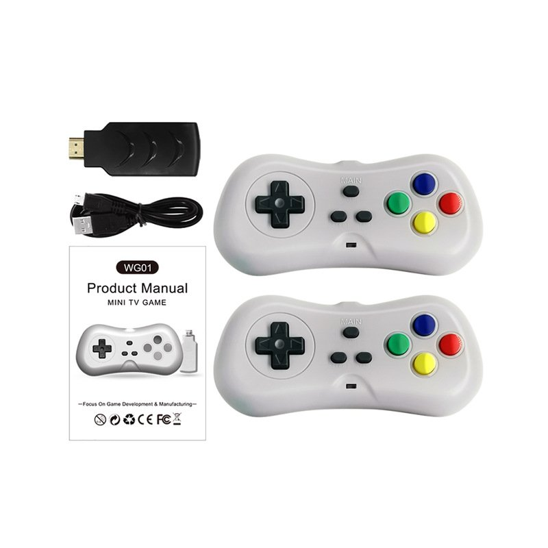 HD TV Video Game Console Built-in 638 Games Dual Players Infrared Connection Wireless Controller gray