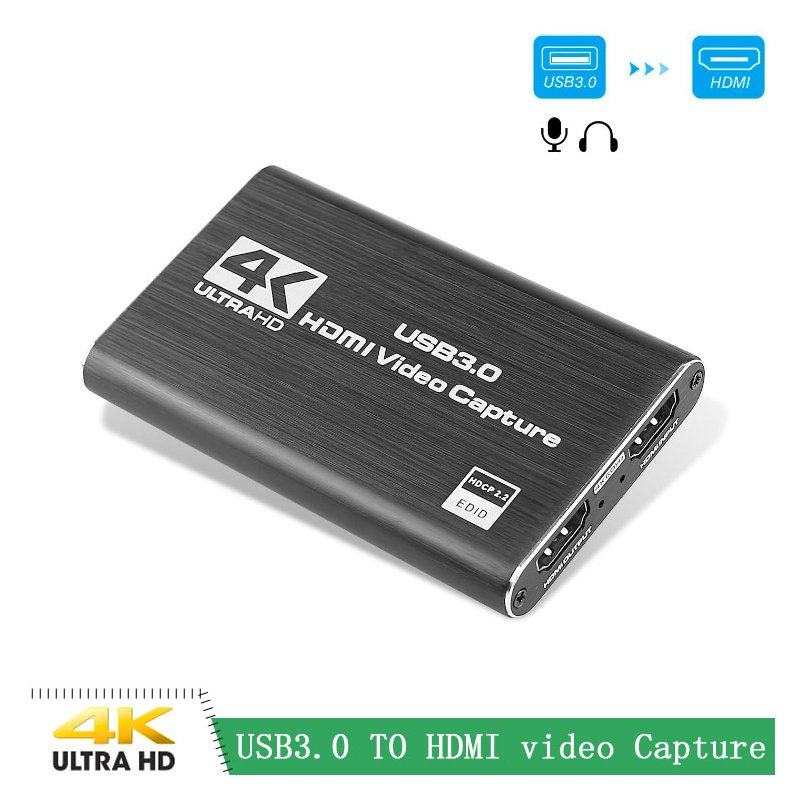 HD Video Game Capture Card Video Converter for HDMI Output Live Streaming for XBOX PS4 MAC USB 3.0 4K 60HZ 1080P 60Fps  black