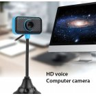 HD Webcam USB 2 0 Rotatable Computer Webcam with Microphone PC Digital HD Video Camera Practical Portable Camera dark blue