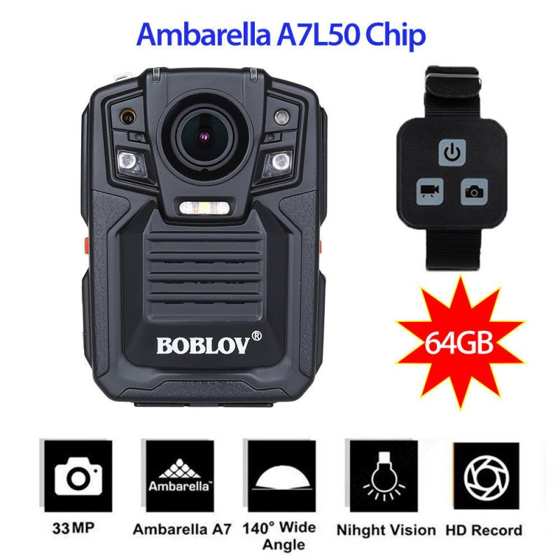 HD66-02 64G WiFi Camera HD 1296P Recorder Video Shoulder Strap Work Recorder Camera Remote version (64G)