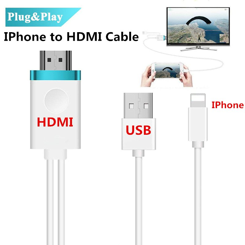 HDMI Cable for IPhone to HDMI Adapter Digital AV to 1080P HDTV Cord Converter for iPhone X/8/8+/7/7+/6/6+/5S HDMI Connector White + blue
