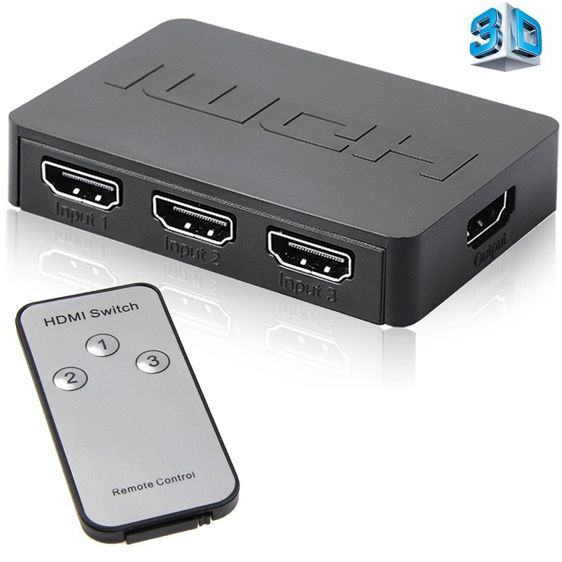 HDMI Splitter 3 Port Hub Box Auto Switch 3 In 1 Out Switcher 1080p HD with Remote Control for XBOX360 PS3 HDTV Projector