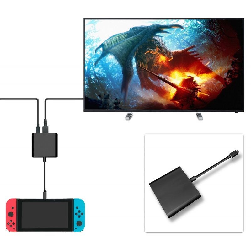 HDMI Type C Hub Adapter for Nintend Switch HDMI Converter Dock Cable for Switch black
