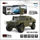 HG-P408 1/10 Truck Simulation Car RC Car Professional Remote Control Car Army green_American regulations