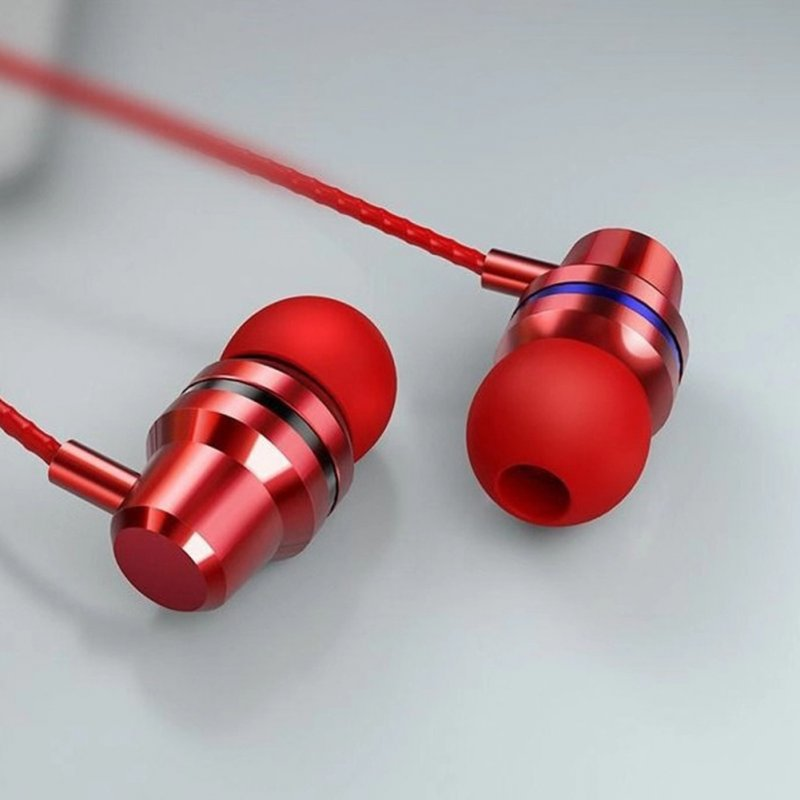 HIFI Super Bass Wired Headset 3.5mm In-Ear Earphone Stereo Earbuds  Red