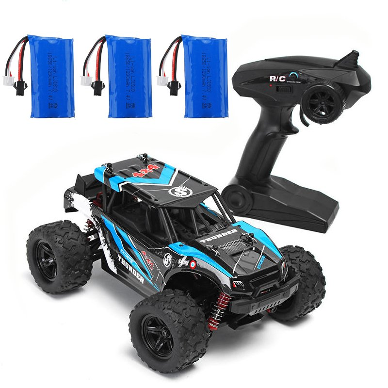 HS 18311/18312 1/18 40+MPH 2.4G 4CH 4WD High Speed Climber Crawler RC Car Toys blue_Three battery