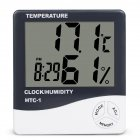 HTC-1 Home Indoor Temperature Hygrometer Desktop Digital Large Screen Hygrothermograph Alarm Clock HTC-1