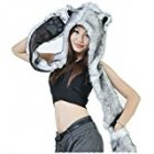 HUSKY Full Animal Hoodie Hat 3 in 1 Function Faux FUR