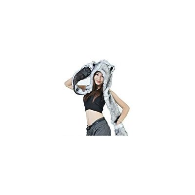 HUSKY Full Animal Hoodie Hat Faux FUR