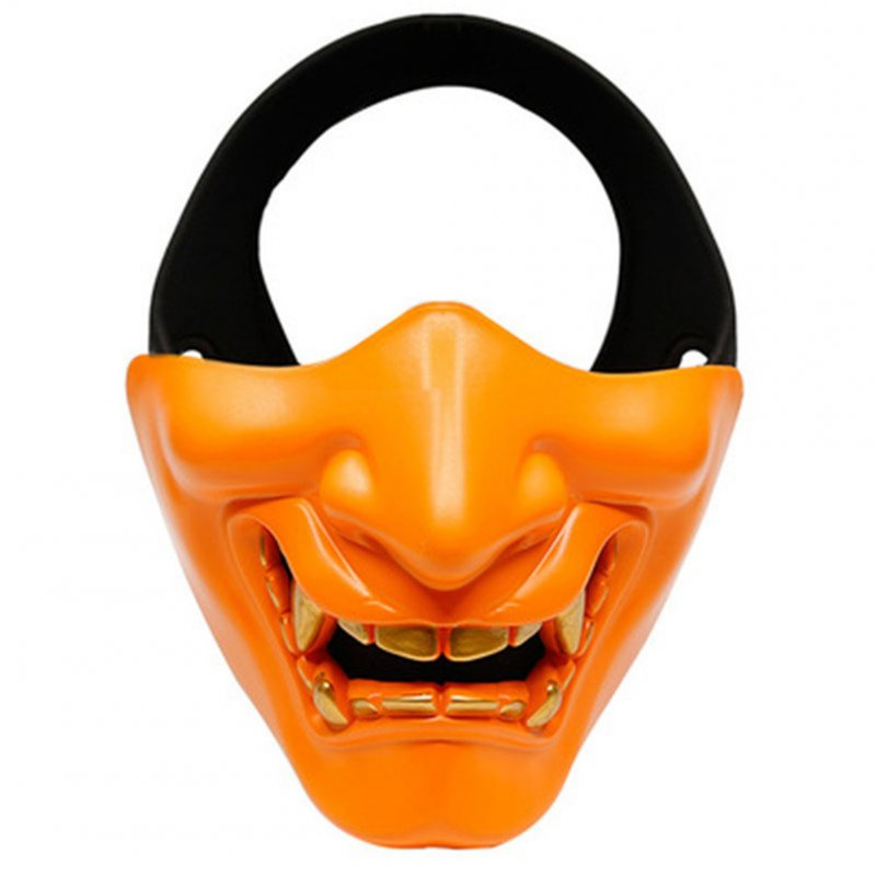 Half Face Mask Lower Face Protective Mask for Airsoft/Paintball/CS Game for Halloween Cosplay Costume Party Movie Prop Orange