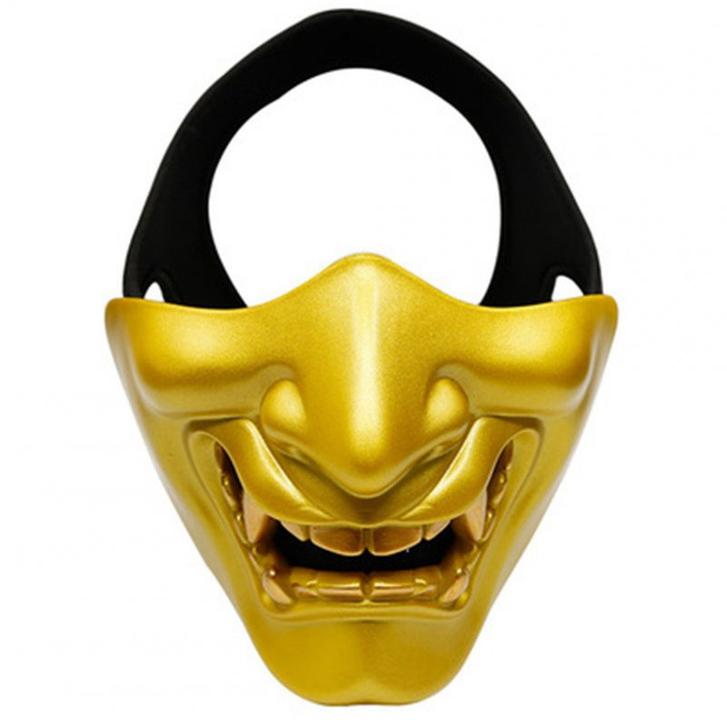 Half Face Mask Lower Face Protective Mask for Airsoft/Paintball/CS Game for Halloween Cosplay Costume Party Movie Prop Gold