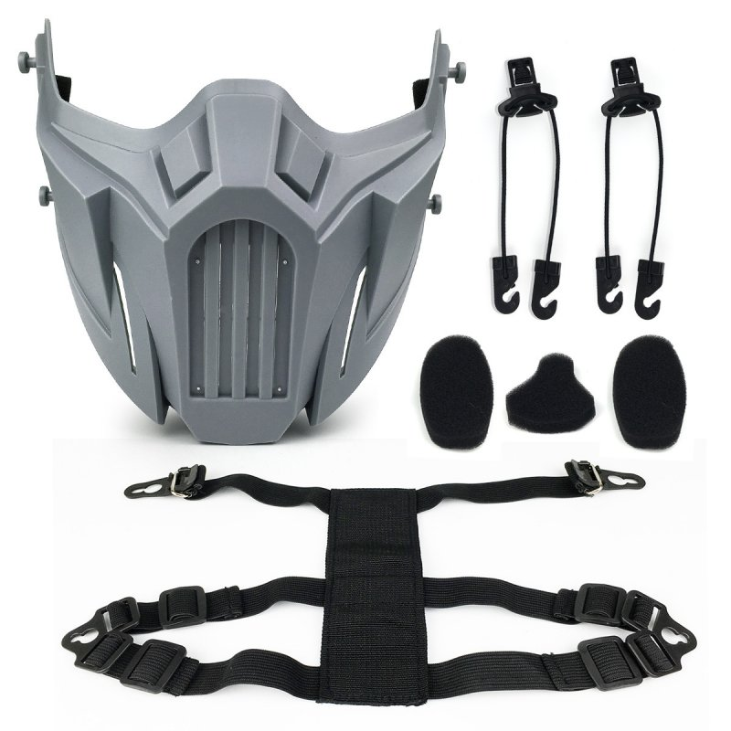 Half Face Mask Protective Mask Outdoor Game Mask gray_One size