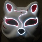 Half-Faced LED Light Emitting Japanese styel Mask for Halloween Dress up Party Dance 16X18CM white